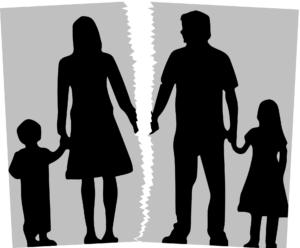 silhouette of broken family